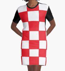 Rotes Schachbrett Kroatien T-Shirt Kleid