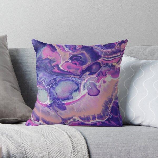 Fluid Nature - Purple Jazz - Acrylic Pour Art Throw Pillow