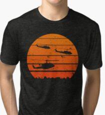 A Huey Jungle Sunrise UH-1 Helicopter VietNam Retro Vintage Design Tri-blend T-Shirt