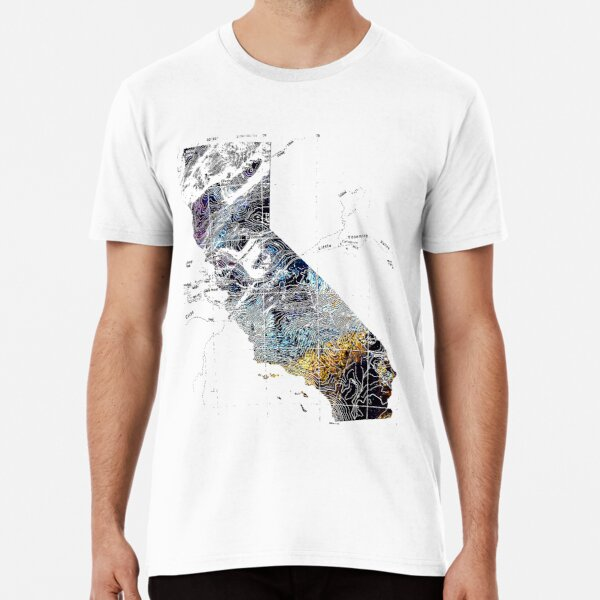 California with Half Dome topography Premium T-Shirt