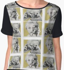 Woman with Argus Camera - Vintage Graphic Chiffon Top