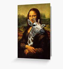 Mona Lisa Loves Giraffes Greeting Card