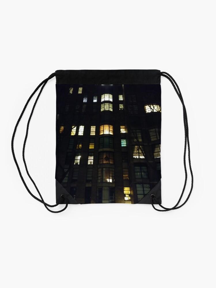 Alternate view of New York, Brooklyn, Manhattan, New York City, Buildings, streets Drawstring Bag