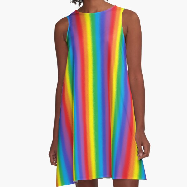 Frosted Vertical Rainbow   A-Line Dress