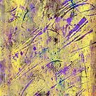Yellow And Purple Gelli Plate Print Abstract by Sandra Foster
