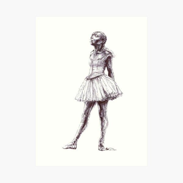 Little Dancer Ballpoint Pen Drawing Art Print