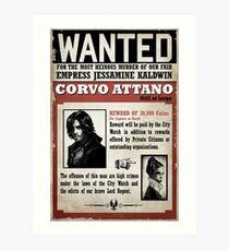 Corvo Attano Wanted Poster Art Print