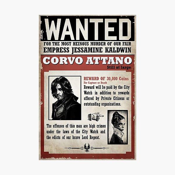 Corvo Attano Wanted Poster Photographic Print
