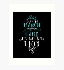 March Birthday Lion Lamb Art Print