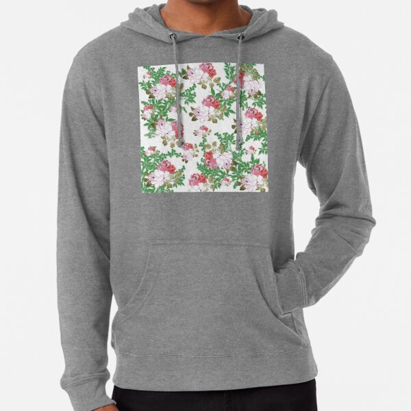 CABBAGE ROSES PINK AND WHITE SPRING PATTERN COLLECTION  Lightweight Hoodie