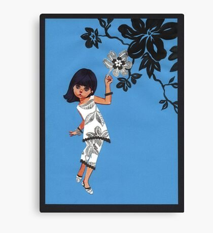 Silver Flower Mod Canvas Print