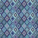 Kilim Diamonds - Blue, elegant pattern by Cecca Designs by Cecca-Designs