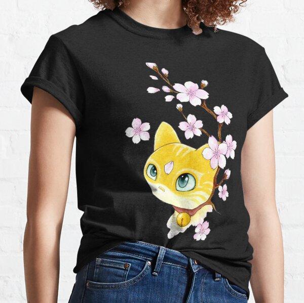 Chat et fleurs de cerisier T-shirt classique