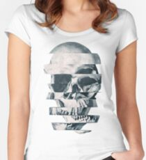 Glitch Skull Mono Women's Fitted Scoop T-Shirt