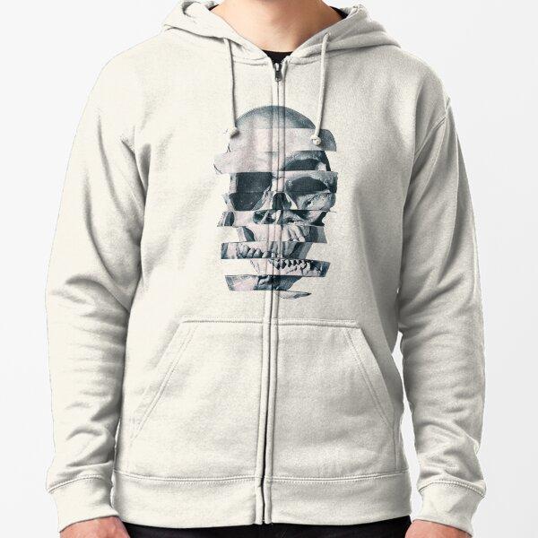 Glitch Skull Mono Zipped Hoodie