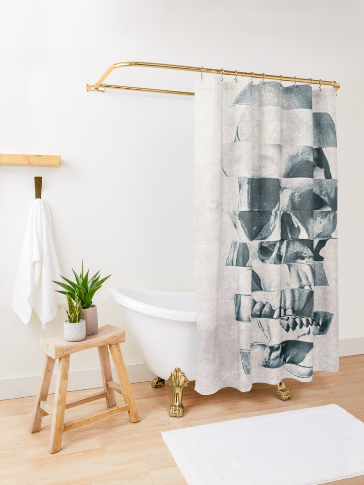 Alternate view of Glitch Skull Mono Shower Curtain