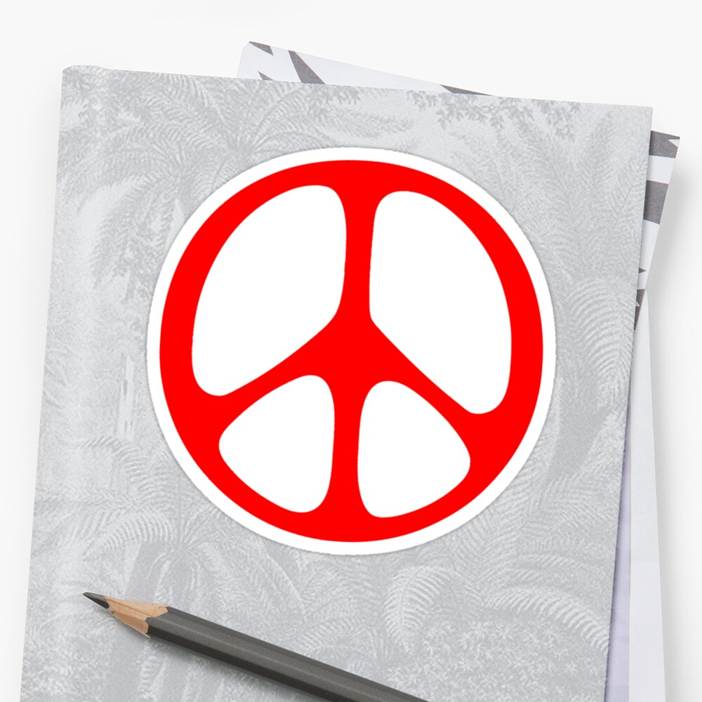 Red 60s Peace Sign Symbol Stickers By Popculture Redbubble