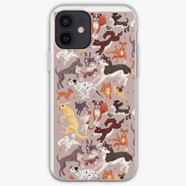 Dog Breed Pattern Illustration iPhone Soft Case
