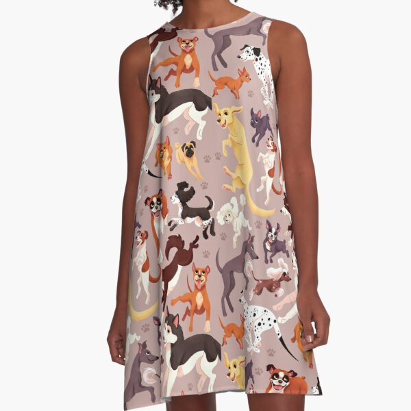 Dog Breed Pattern Illustration A-Line Dress