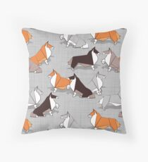 Origami Collie friends // grey linen texture background white orange & brown paper and cardboard dogs Throw Pillow