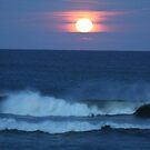 Super Moon rising over the Ocean by Nancy Hopping
