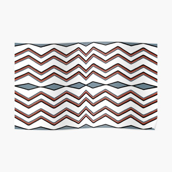 #pattern #abstract #wallpaper #seamless #chevron #design #texture #geometric #retro #blue #white #zigzag #decoration #illustration #fabric #paper #red #green #textile #backdrop #color #yellow #square Poster
