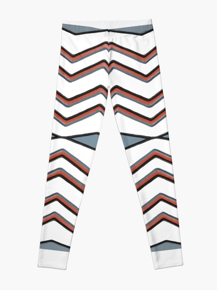 Alternate view of #pattern #abstract #wallpaper #seamless #chevron #design #texture #geometric #retro #blue #white #zigzag #decoration #illustration #fabric #paper #red #green #textile #backdrop #color #yellow #square Leggings