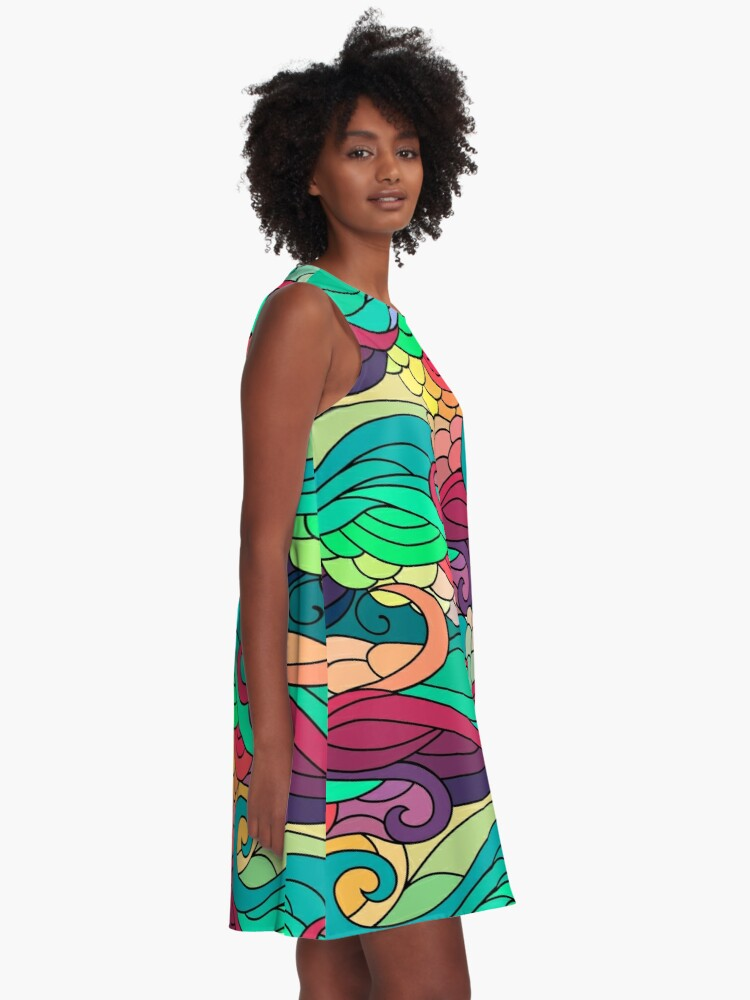 a523b1c8885 A-Line Dress. Alternate view of Indian summer wavy zentangle pattern for  hippies and yoga lovers. A-