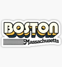 Boston, Massachusetts | Retro Stripes Sticker