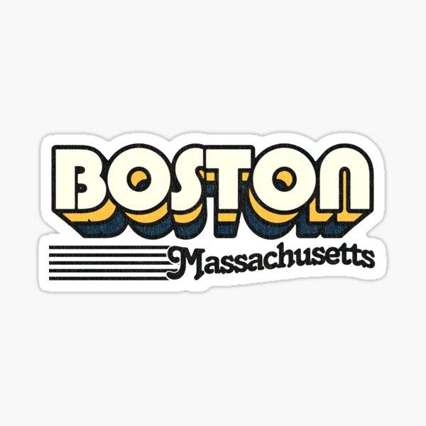 Boston, Massachusetts | Retro Stripes Sticker