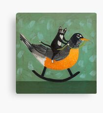 Cats on a Rocking Robin Canvas Print