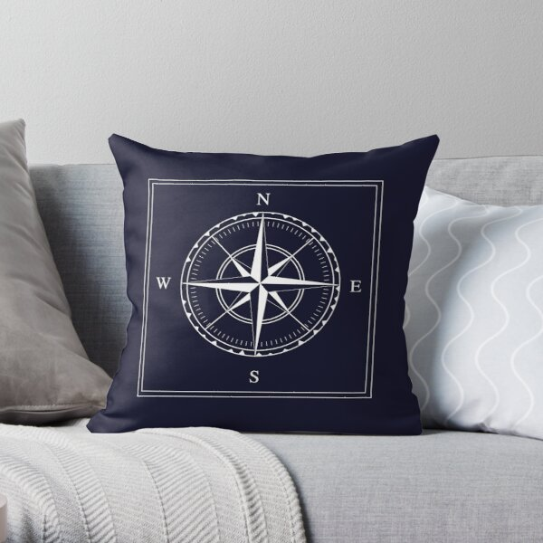 Navy Blue and White Nautical Ships Compass Rose Throw Pillow