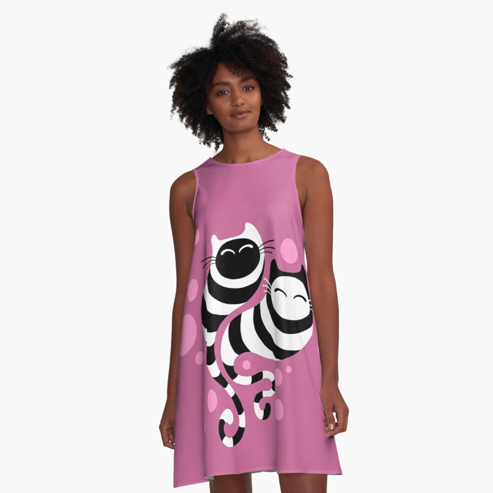 Striped ghost cats Pink A-Line Dress