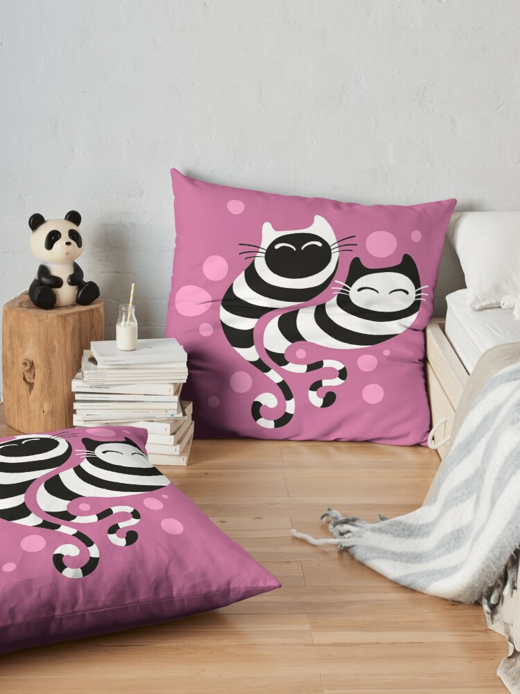 Alternate view of Striped ghost cats Pink Floor Pillow