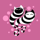 Striped ghost cats Pink by Kameeri