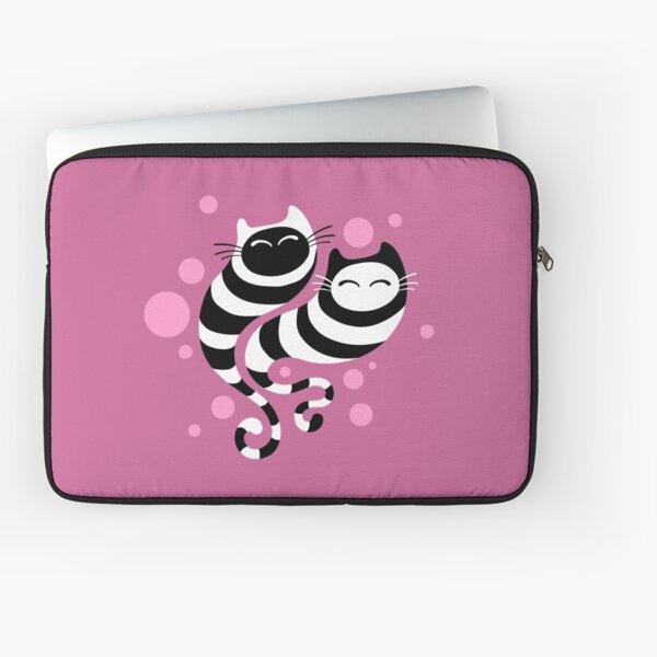 Striped ghost cats Pink Laptop Sleeve