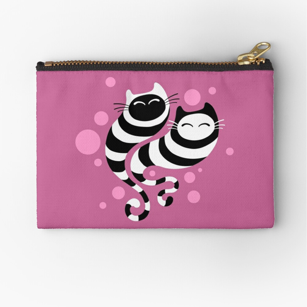 Striped ghost cats Pink Zipper Pouch