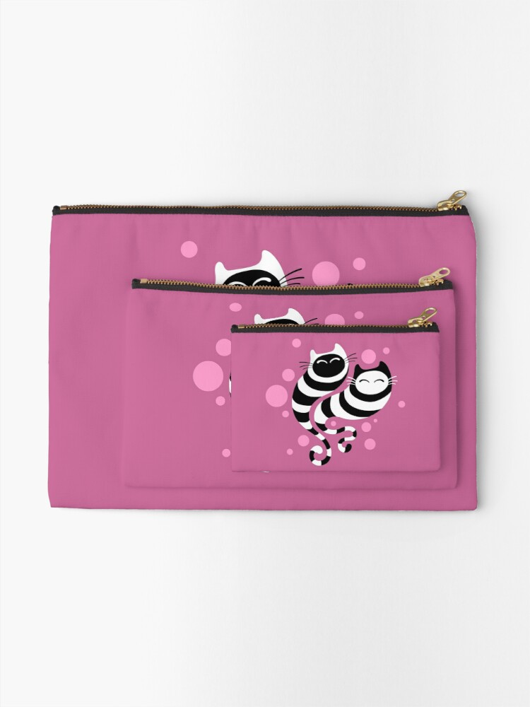 Alternate view of Striped ghost cats Pink Zipper Pouch
