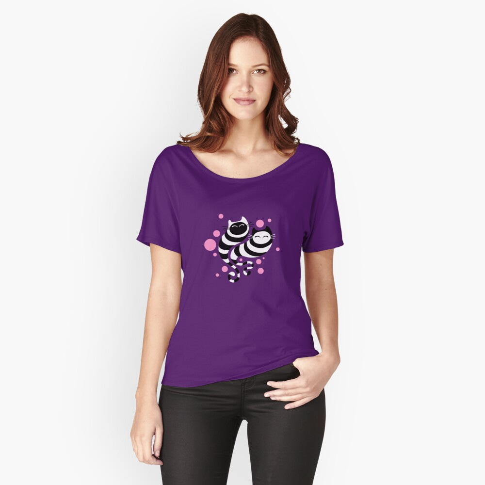 Striped ghost cats Pink Relaxed Fit T-Shirt