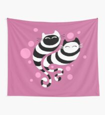 Striped ghost cats Pink Wall Tapestry