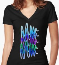 Neon Waves Women's Fitted V-Neck T-Shirt
