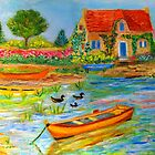 Brittany painting by daffodil