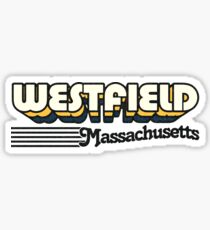 Westfield, Massachusetts | Retro Stripes Sticker