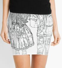 Geometric Drawing of Japanese Cute Couple in Tokyo Mini Skirt