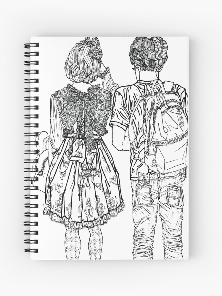 Dessin Géométrique Dun Couple Mignon Japonais à Tokyo Cahier à Spirale