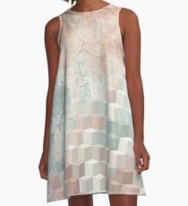 Distressed Cube Pattern - Nude, turquoise and seashell A-Line Dress