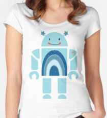 One happy robot Women's Fitted Scoop T-Shirt