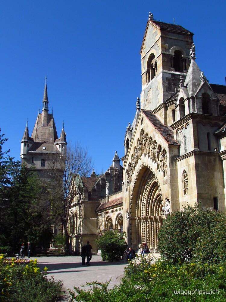 Jak Church and Vajdahunyad Castle by wiggyofipswich