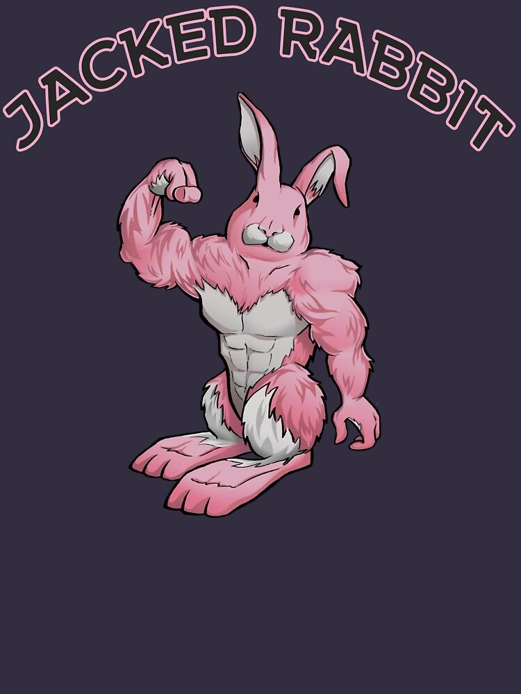 Jacked Rabbit Workout Shirt (Pink) by goldenyakstudio