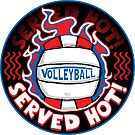 Volleyball Served Hot Blue Red Vball by MudgeStudios